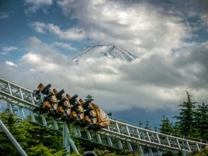 Dodonpa Fuji-Q Highland mountain clouds