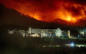 Dollywood's DreamMore Resort below last night's raging wildfires.