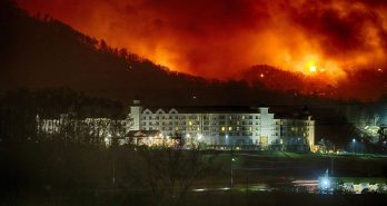 Dollywood's DreamMore Resort below last night's raging wildfires.