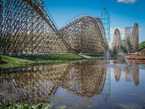 El Toro and Kingda Ka at Six Flags Great Adventure lake reflection