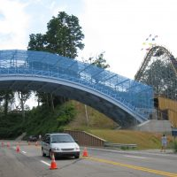Ravine Flyer II Waldameer coaster going over a road