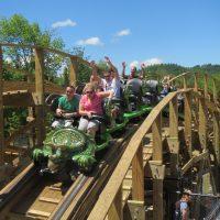 Roar-O-Saurus Story Land dinosaur roller coaster
