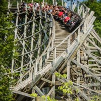 Thunderhead Dollywood wooden roller coaster banked turn