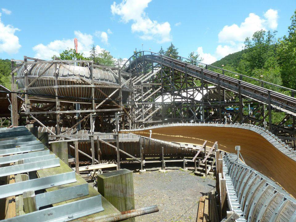 Flying Turns at Knoebels Amusement Resort Pennsylvania USA.