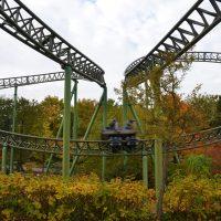 Fluch Von Novgorod Hansa Park roller coaster in autumn fall