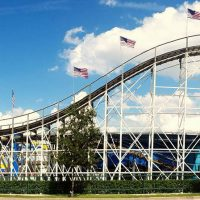 White Lightning Fun Spot America wooden roller coaster