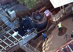 Aftermath of Thunder River Rapids accident at Dreamworld