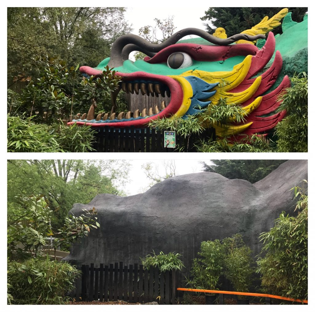 dragon falls, tiger rock, tunnel, chessington