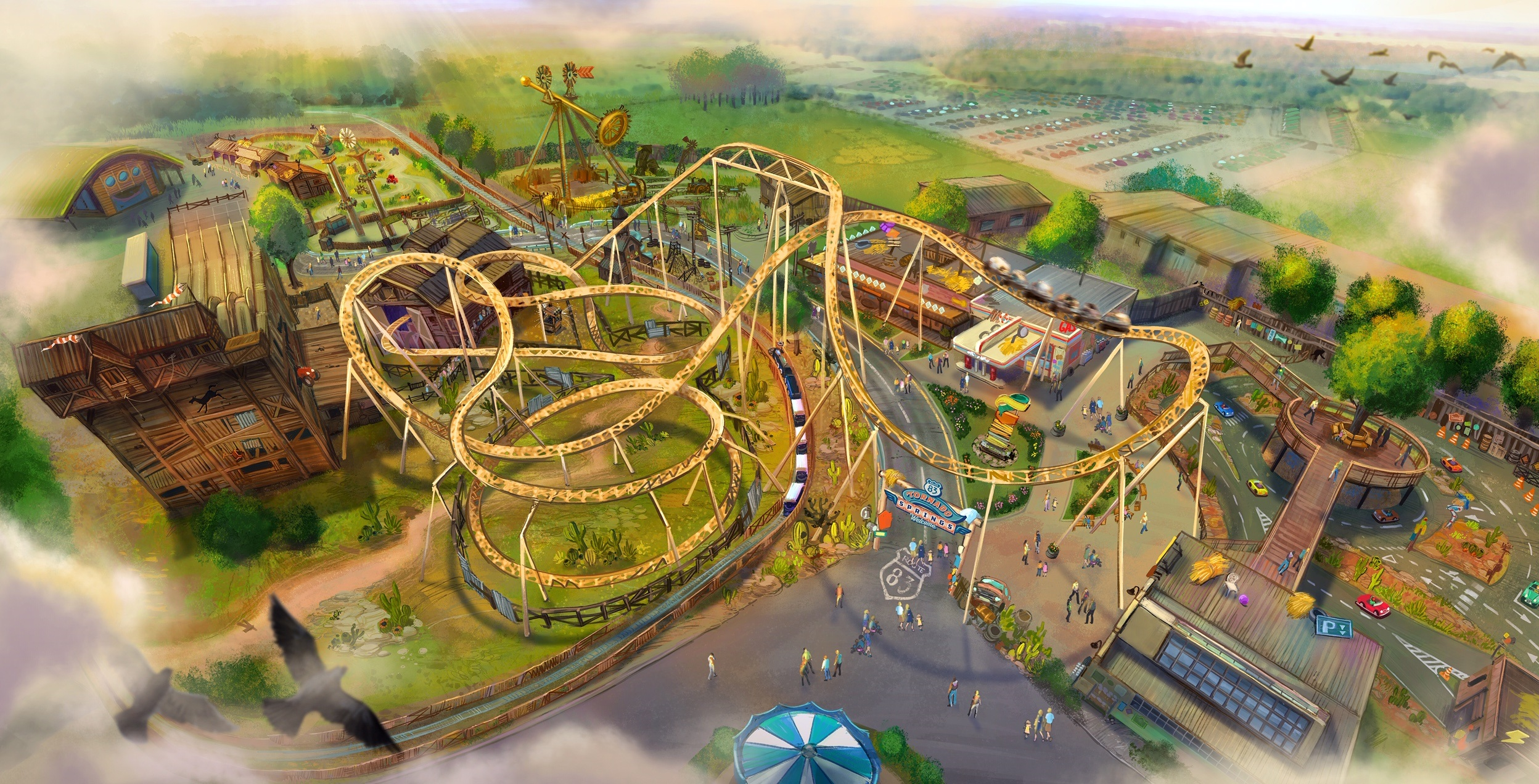 Artists impression of Tornado Springs at Paultons Park